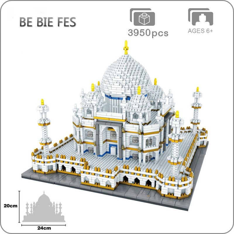 Architecture de renommée mondiale inde Taj Mahal Palace 3D modèle diamant Mini bricolage 3950 pièces Micro construction Nano blocs briques jouet pas de boîte