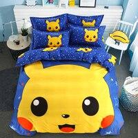 Cartoon Pikachu Bedding Set Children Christmas Bed Set Stitch Doraemon Duvet Cover Set Bed Sheet Pillowcase Twin Full Queen Size