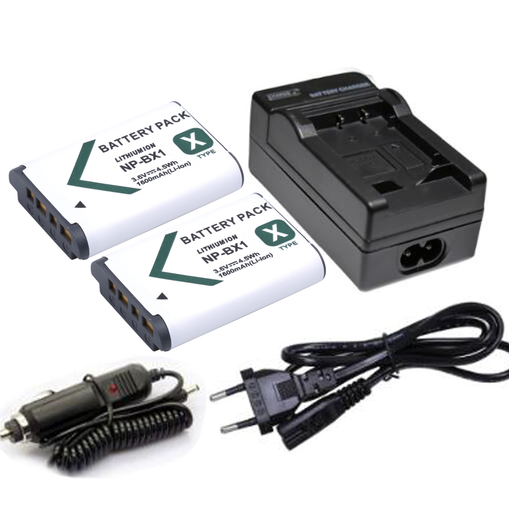 2X NP-BX1 Batterie bateria AKKU NPBX1 NP BX1 + Chargeur pour Sony cyber-shot RX1 RX100 RX100 IV WX300 H400 HX300, HDR-AS10 AS200VR
