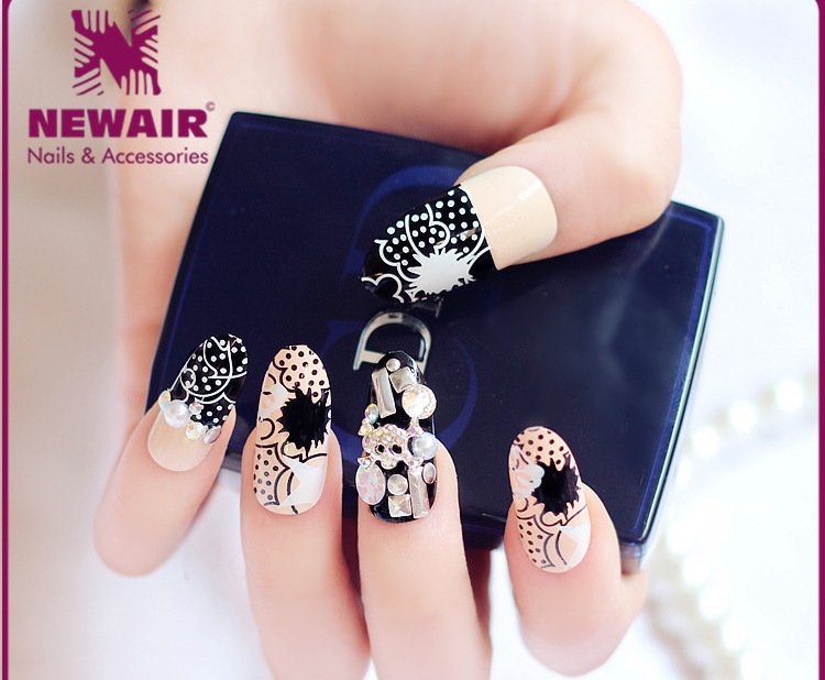 Adhesive 3d False Nails Full Cover Rhinestones Nail Art Tips Luxury ...