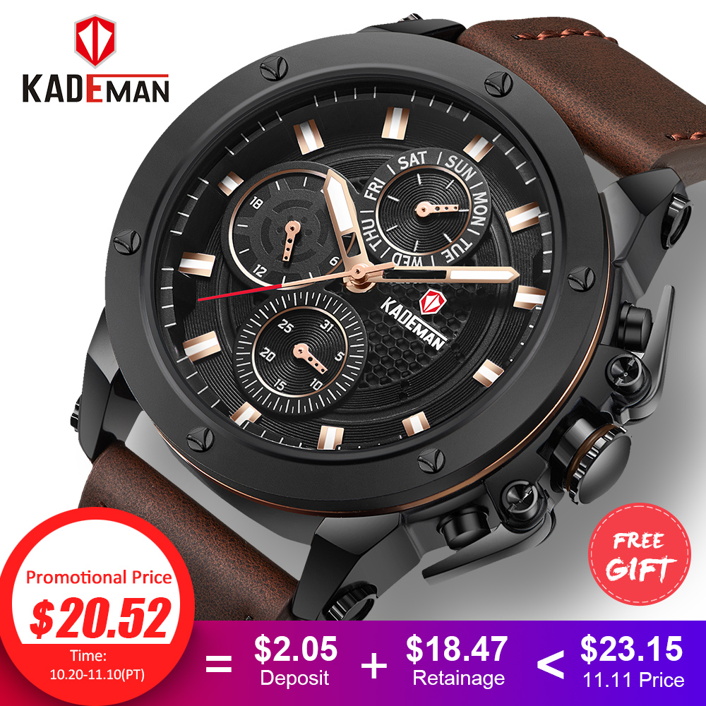 KADEMAN Top Brand Men's Fashion Casual Sport Watches Men Waterproof Leather Quartz Watch Man military Clock Relogio Masculino benyar brand men watch fashion casual sport watches men waterproof leather quartz watch man military clock relogio masculino