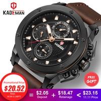 KADEMAN Top Brand Men's Fashion Casual Sport Watches Men Waterproof Leather Quartz Watch Man military Clock Relogio Masculino