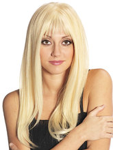 2016 Fashion Long Sexy Style Natural straight Blonde Wig High Quality Synthetic Hair Full Wig Peluca Peruca Mega Hair