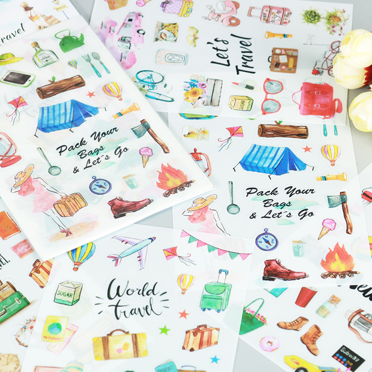 6 Pcs/pack World Travel With Me Cartoon Stickers Diary Sticker Scrapbook Decoration PVC Stationery Stickers