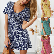 2019 Summer Spring flower dot print wrap dress women short sleeve beach dress korean fashion work v neck party midi Tank dress flower print flutter sleeve wrap dress