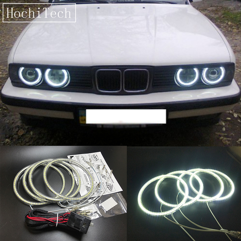 HochiTech Ultra bright SMD LED Angel / demon Eyes led headlight halo ring kit day light white for BMW E30 E32 E34 1984-1990 universal fit xenon white headlight smd 3014 led angel eyes halo rings kit for bmw honda vw ultra bright car angelic eyes rings