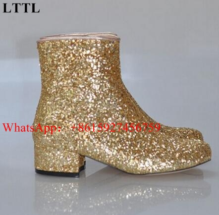 LTTL Women Glitter Ankle Boots Square Heels Sparkly Booties Fall Winter  Feminino Botas Red Silver Gold Shoes Women Eu 34 46-in Ankle Boots from  Shoes on ... f74fa090652d