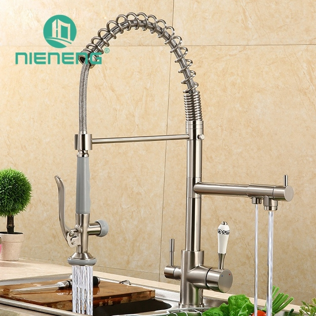 Nieneng Contemporary Kitchen Faucet Mixer Taps Pull Down Spray