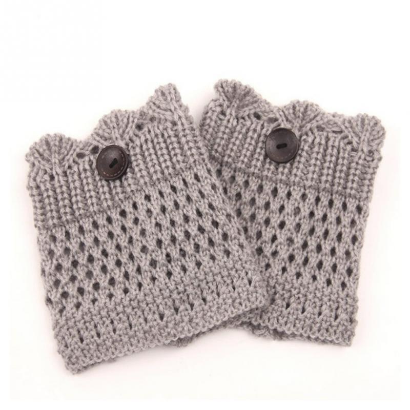 Women Short Button Crochet Leg Warmers Winter Fall Knit Boot Cuffs