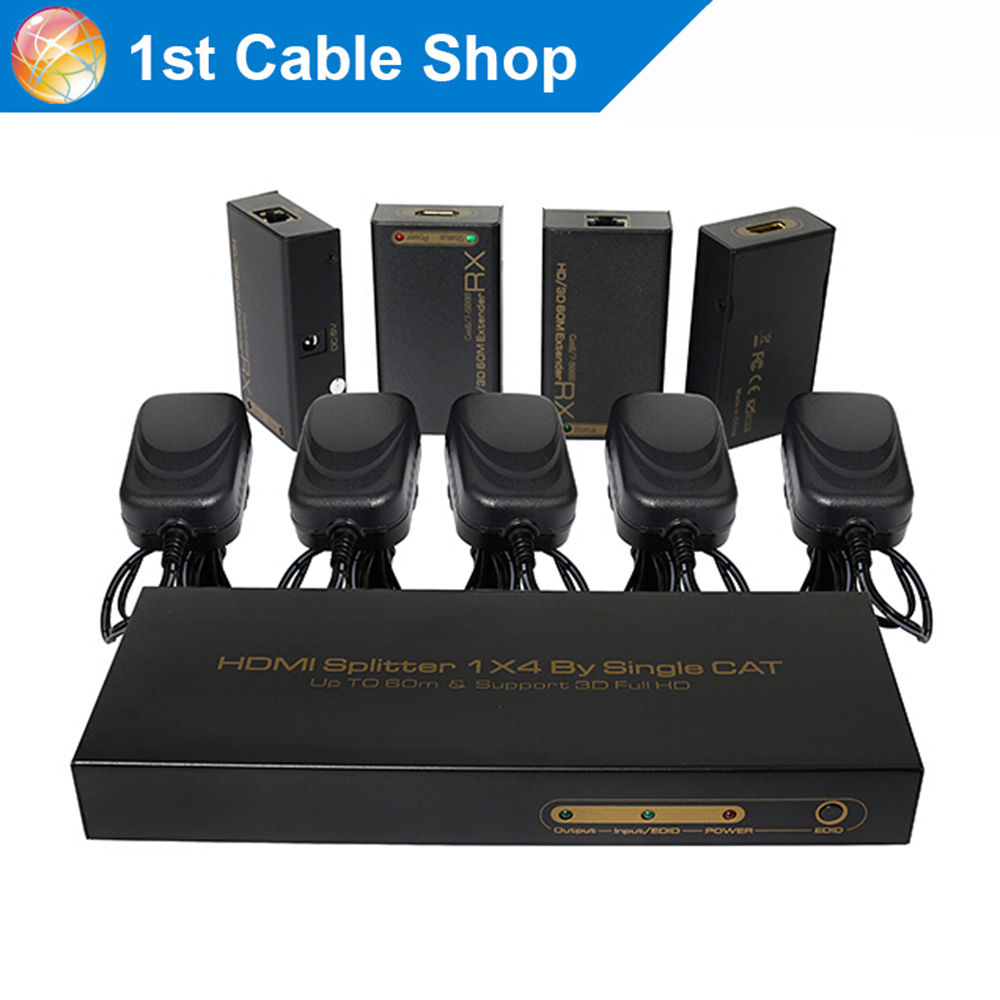 HDMI Splitter 1X4 extender by cat5e cat6/7 up to 60M 1080P 1 TX and 4 HDMI receivers included