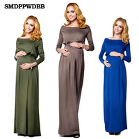 SMDPPWDBB Summer Maternity Dress Cotton Maxi Maternity Dress Gown Sexy Maternity Photography Props Women Elegant O-Neck Dress
