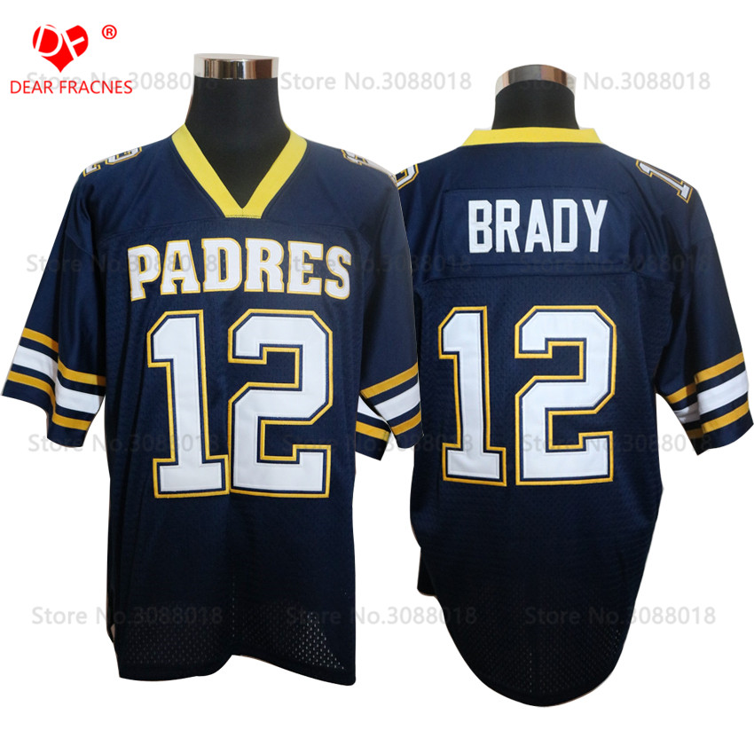 Cheap Shirt for Mens American Football Jerseys Tom Brady 12 Junipero Serra Padres High S ...
