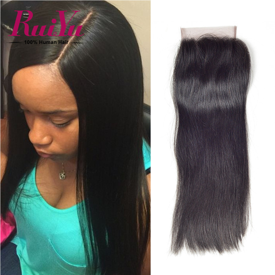 "Best Peruvian Virgin Hair Closure 4*4 Peruvian Straight Lace Closure 8""-24"" Middle/Three/Free Part Closure Human Hair Closure"