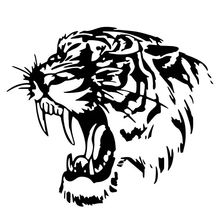 Car Styling Reflective and Creative Personality Cool Animal Tiger Body Car Stickers Black Silver CT2043