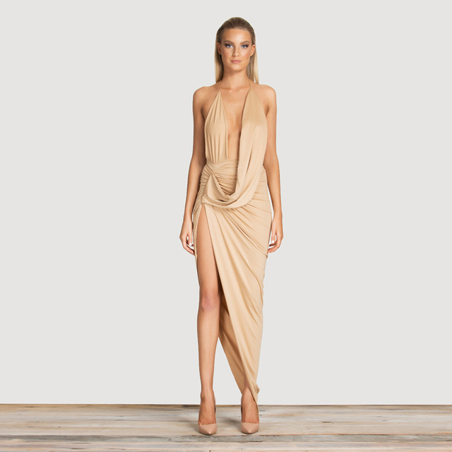 9c2b51acc313 sexy women hang neck strappy dress deep v plunge dress Summer maxi long  Dress backless Bodycon