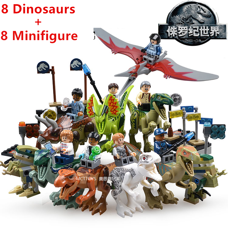 16pcs <font><b>Jurassic</b></font> <font><b>World</b></font> Park Movie Dinosaurs <font><b>Tyrannosaurus</b></font> <font><b>Rex</b></font> Velociraptor Minifigures Assemble Model Building Blocks Kids Toys