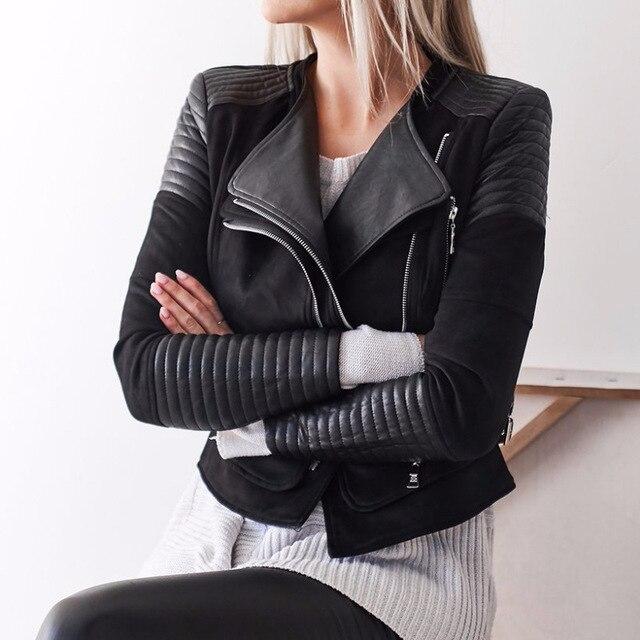 Abrigos de cuero sintético gótico para mujer invierno otoño motocicleta  chaqueta negra piel sintética PU chaqueta 4271aa664b8a