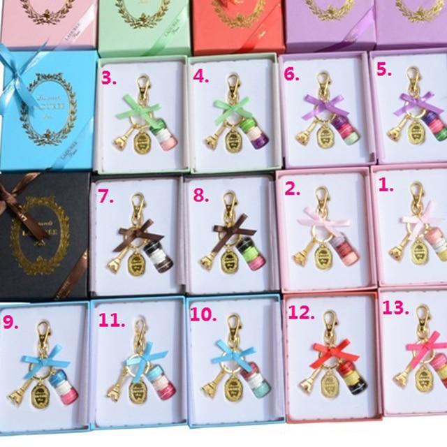 KC15 venda Quente França Macaron macarons Effiel Torre Charme Saco da corrente Chave keychain Presentes de Natal para Ela/Ele Cor caixa de presente