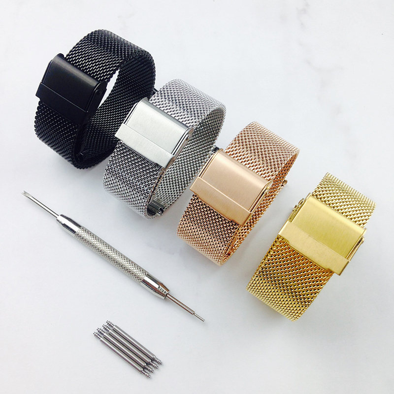 Watchband 12mm 14mm 18mm 20mm 22mm 24mm Universal Stainless Steel Metal Watch Band Fossil Strap Bracelet Black Rose Gold Silver