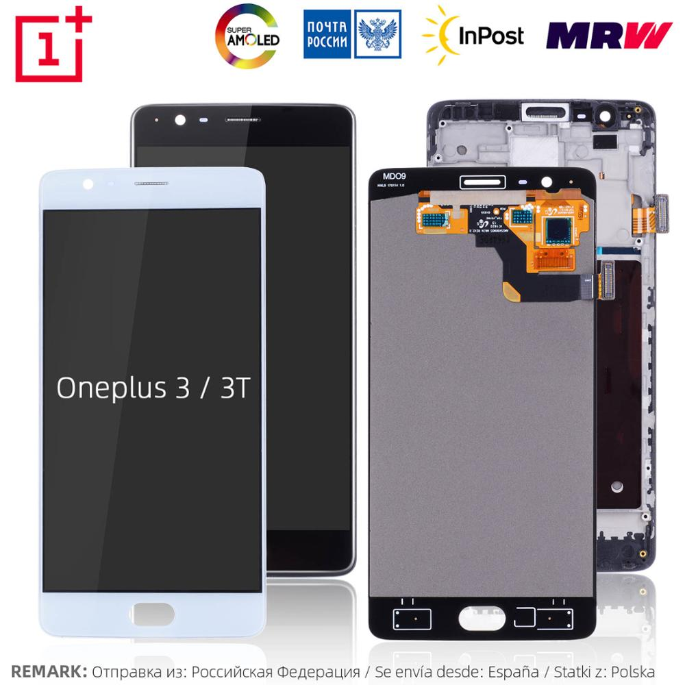 AMOLED Original Display For Oneplus 3 3T LCD Touch Screen With Frame Replacement For Oneplus 3 3T Display A3000 A3003(China)