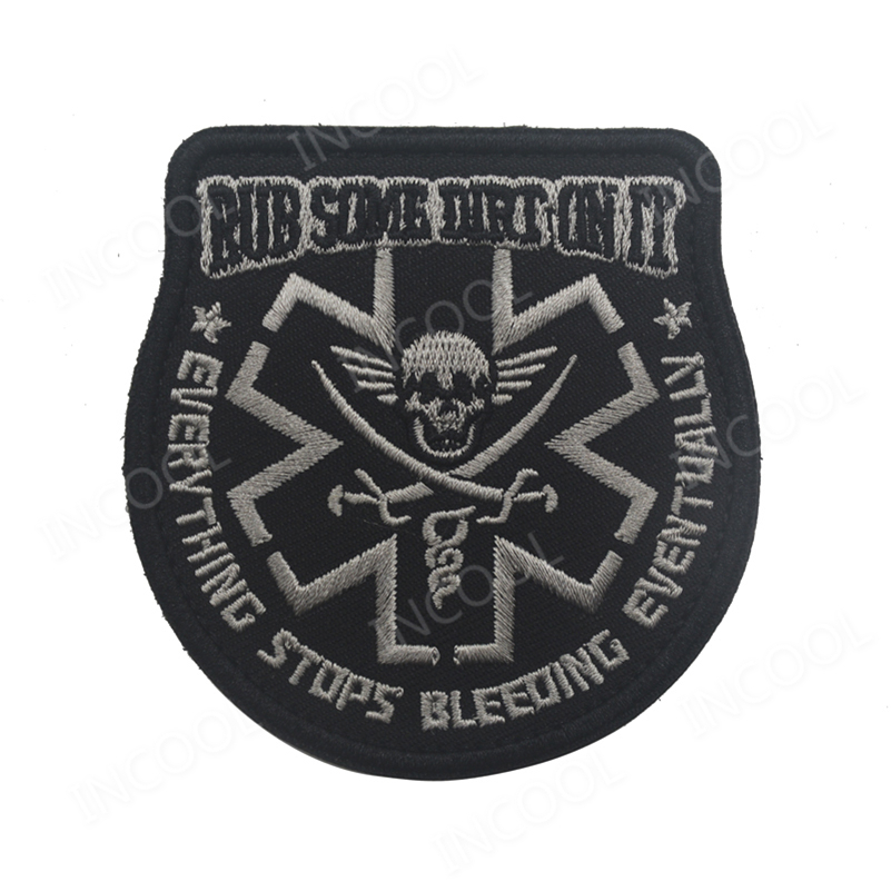 50 PCS Embroidery Patch Rub Some Dirt Tactical Morale Patch Medic Paramedic EMT Rescue Patch Pirate