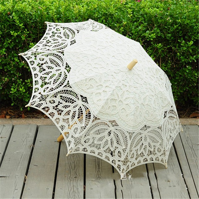 Vintage Ivory Lace Parasol Umbrella For Wedding Party Bridal Batten Handmade Umbrellas Beach
