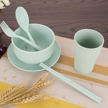 6PCS Broken-resistant Wheat Straw Bowl Spoon Set Tableware for Baby Kids Portable Cutlery Cubiertos