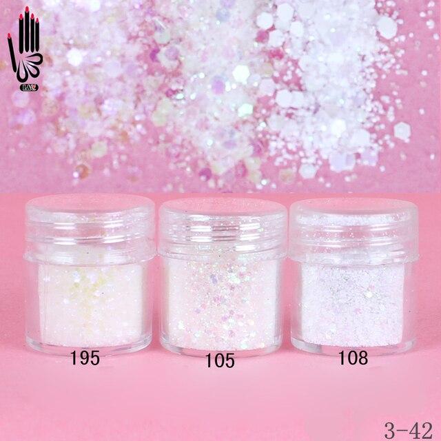 1 Jar/Box 10ml 3 Bunten Weiß Mix Nail Glitter Pulver Pailletten Pulver Für Nagel Kunst Dekoration Optional 300 farben 3 42