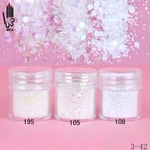 1 Jar/Box 10ml 3 Multicolore Bianco Della Miscela Glitter Per Unghie Polvere Paillettes Polvere Per Unghie Artistiche Decorazione Opzionale 300 Colori 3 42