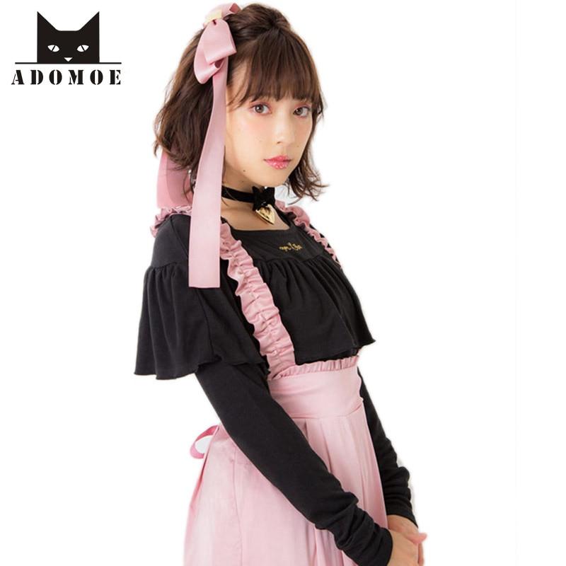Busana lengan Panjang T-shirt Wanita Ramping O-neck Ruffles gadis Muda  Cukup Indah wanita Kemeja Drop bahu Tops warna Solid dbe0ee2952