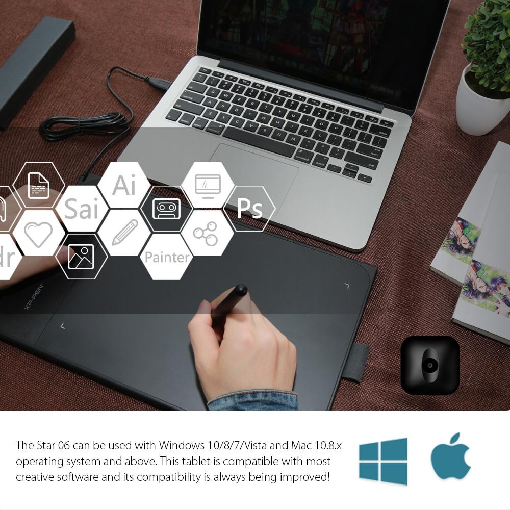 Nowy XP-Pen Star06 Bezprzewodowy tablet graficzny do rysowania tablic - Peryferia komputerowe - Zdjęcie 5