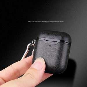Image 4 - For Airpods Earphone Case Litchi Leather Pattern Soft TPU Bluetooth Wireless Earphone Case For Airpods 2 Wireless Charging Box