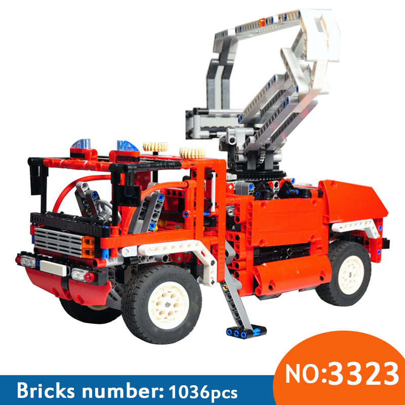 US $32 99 |NEW 1:10 3323 DIY Technic Exploiture Fire Engine Truck Car  Blocks Building Blocks Set Educational Bricks DIY 8289-in Blocks from Toys  &