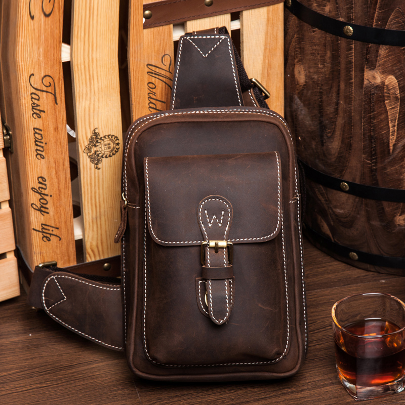LAPOE Crazy Horse Bag Men Chest Pack Single Shoulder Strap Back Bags Genuine Leather Travel Men Crossbody Bags Vintage Chest Bag miwind men chest pack leather genuine cowhide back bag crossbody bags women sling shoulder bag back pack travel bag tbp1148