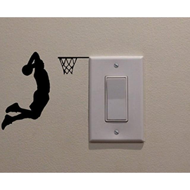 Nieuwe 3D behang sticker wanddecoratie schakelaar basketballer kinderkamer behang versierd met stickers op de muren