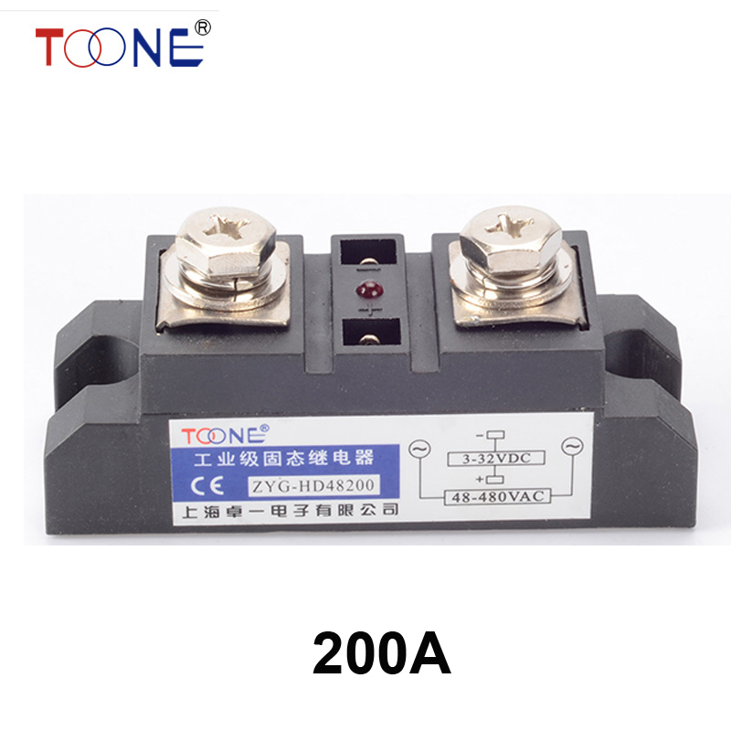 ZYG-HD48200 DC to AC SSR 200A SSR relay input DC 3-32V output AC660V industrial solid state relay dc to ac ssr h150zf 150a ssr relay input dc 3 32v output ac660v industrial solid state relay