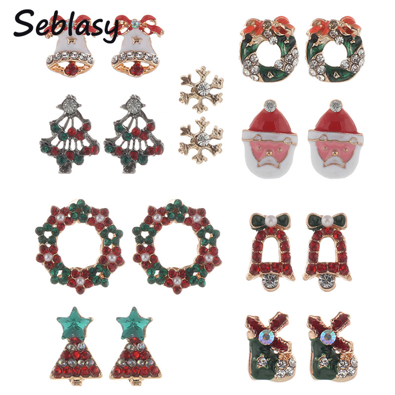 Seblasy New Year Christmas Jewelry Women Santa Claus Snowman lovely Tree Bell Christmas Jewelry Christmas Earring For Women Gift