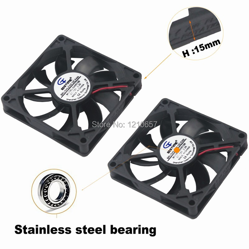 2 PCS lot Gdstime 8cm <font><b>80mm</b></font> x 15mm 8015 Dual Ball <font><b>PC</b></font> CPU Cooling <font><b>Fan</b></font> <font><b>12v</b></font> 2 Pin Computer Case Cooler image