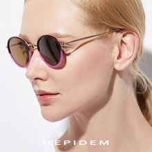 HEPIDEM Pure B Titanium Acetate Polarized Sunglasses Women Vintage Round Sunglass Men Retro Mirrored Sun Glasses Oculos Gafas