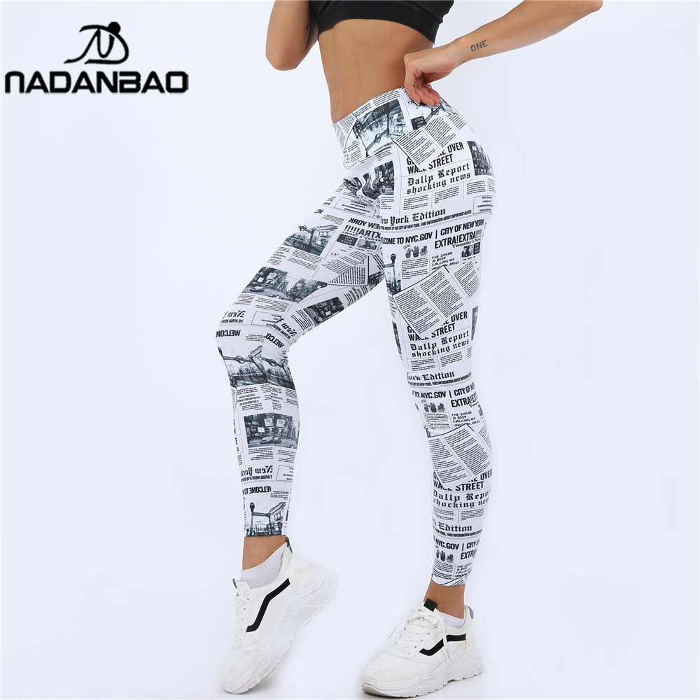 NADANBAO Push Up High Waist Leggings Women Newspaper Print Fitness Legging Sexy Workout Legins For Woman Plus Size