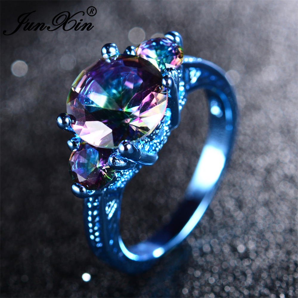 JUNXIN 2017 Newest Mystery Women Rainbow Ring Blue Gold Filled Jewelry Vintage Party Wedding Engagement Rings For Men And Women image