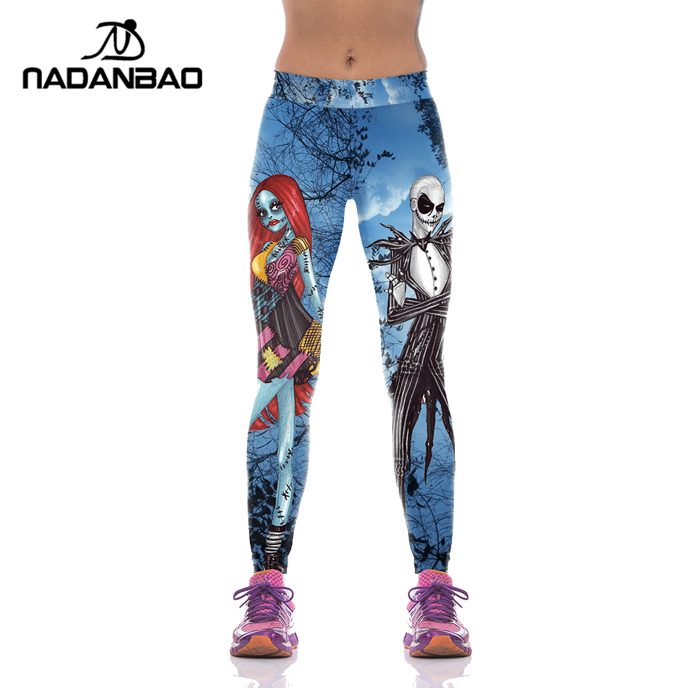 NADANBAO Halloween Jack Skellington Leggings Mujer La pesadilla antes de Navidad pantalones de talla grande impresión Digital Fitness Leggins