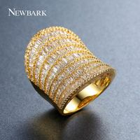 NEWBARK Symmetrical Big Ring Unique Saddle Rings For Women Charm Gold Plated Finger Bague 7 Rows