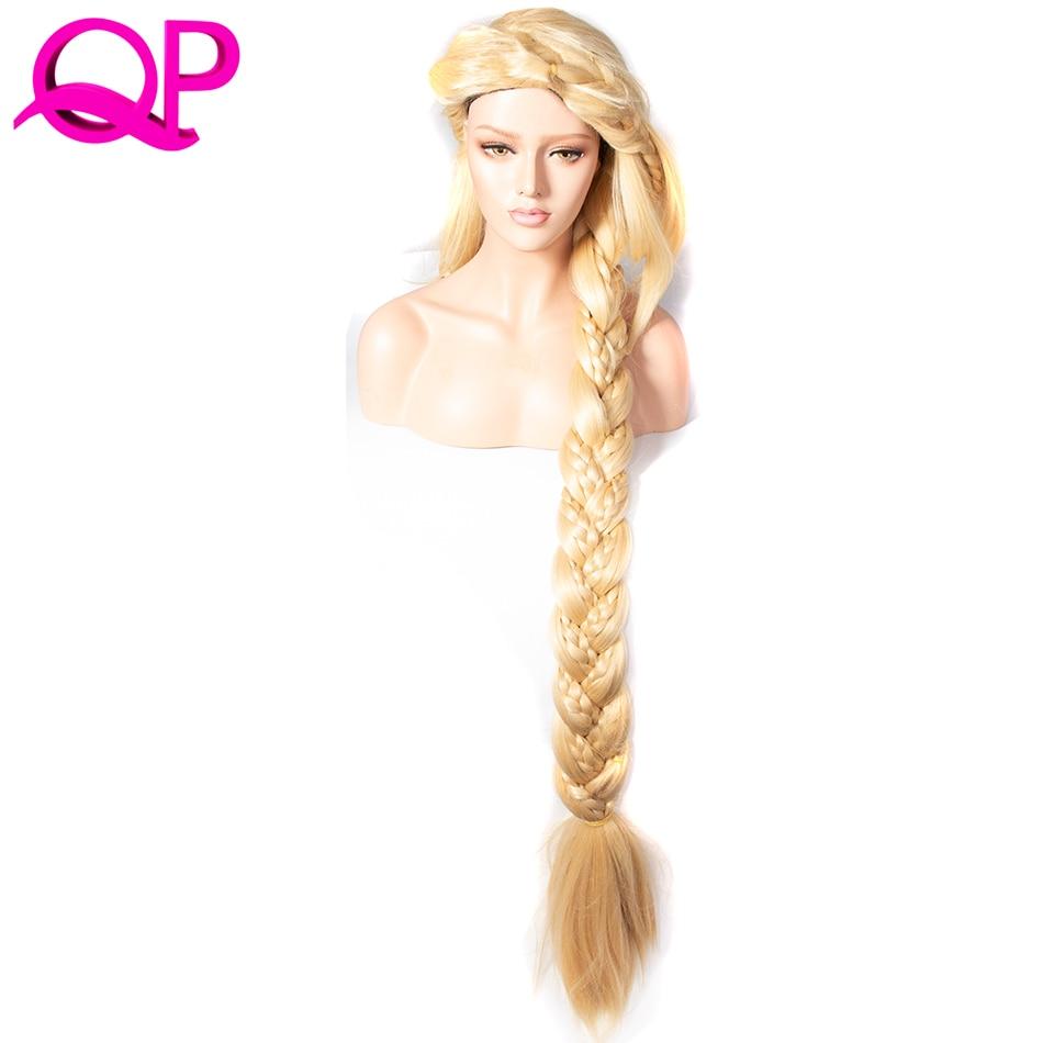 Qp Волосы Прямые Косплей Принцесса 3X Плетеный Удлиненный 140 см Блондин Цвет Синтетический длинный парик невесты