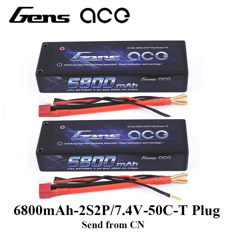 2Pcs Gens ace 2S Lipo Battery 6800mAh 7.4V Batteria Pack 50C Deans Connector for RC Car 1/8 1/10 Hardcase High Discharge 2 Types gens ace lipo battery 3s 5200mah lipo 11 1v battery pack 3 5mm banana connector 10c battery fpv hobbies rc models accessories