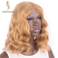 CHOCOLATE Body Wave Blonde Human Hair Wig Blonde Lace Front Wig For Women 180% Density 12 Inch 100% Human Hair No Fix
