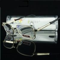 Glass Lens Mens Reading Glasses Men Diopter Eyeglasses Metal Frame Slim Read Eyewear Presbyopic Anti Radiation