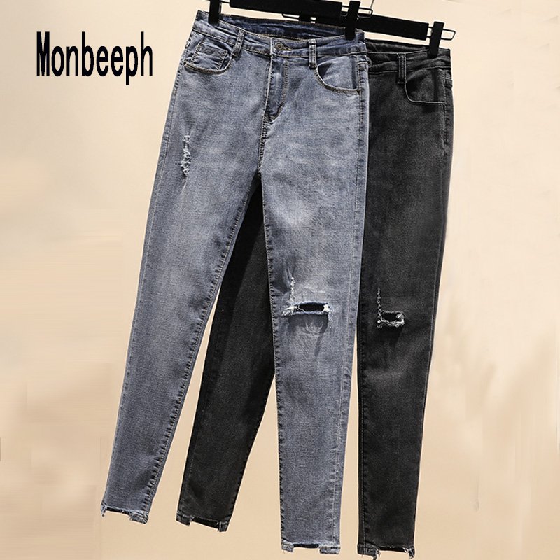 Monbeeph Skinny Jeans Trousers Ripped Blue Stretchy High-Waist Casual Summer Women Ladies