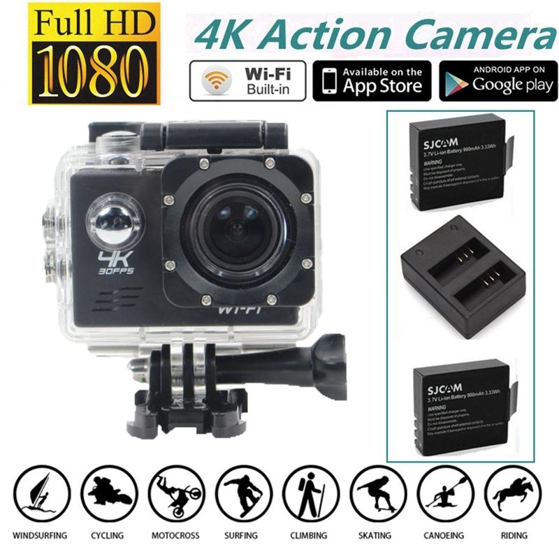 ФОТО Free shipping!Full HD 4K@30fps WiFi Sports Action Camera+Dual Charger Battery Kits