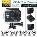 Frete grátis! Full HD 4K @ 30fps Wi-fi Câmera de Ação de Esportes + Dual Carregador de Bateria Kits
